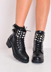 Cleated Stud Embellished Ankle Biker Boots Black