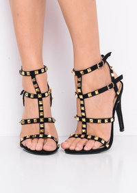 Studded Strappy Faux Suede Stiletto Heeled Sandals Black