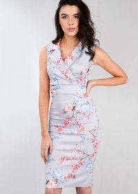 Tie Front Floral Bodycon Collared Midi Dress Grey