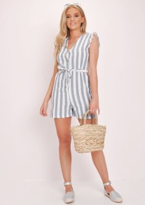 Blue Striped Button Through Playsuit White