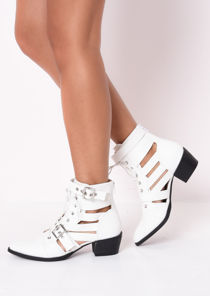 Faux Leather Cut Out Pointed Ankle Boots White