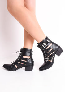 Faux Leather Cut Out Pointed Ankle Boots Black