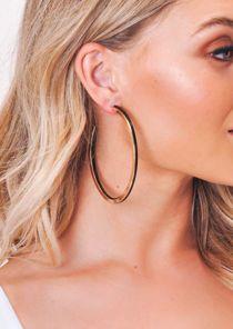 Gold Panel Hoop Earrings Black