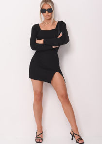 Square Neck Ribbed Front Split Mini Bodycon Dress Black