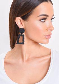 Chunky Geometric Hammered Drop Earrings Matte Black