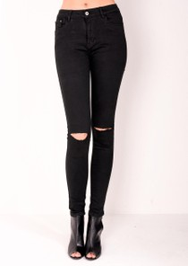 High Waisted Ripped Knee Classic Skinny Jeans Black