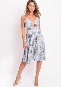 Floral Cami Pleated Midi Dress Grey