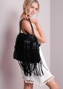 Fringed Boho Chain EdgeMessanger Bag Black