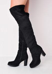 Long Over the Knee Block Heel Suede Boots Black