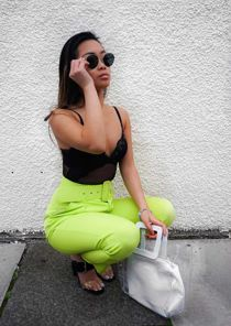 High Waisted Belted Trousers Neon Green