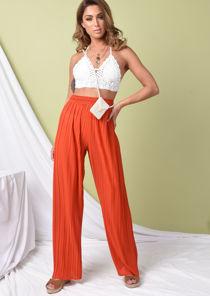 High Waisted Pleated Wide Leg Trousers Orange