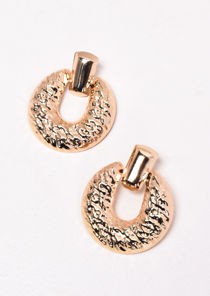 Hammered Texture Circle Earrings Gold