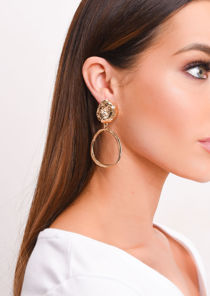Hammered Circle Drop Hoop Earrings Gold