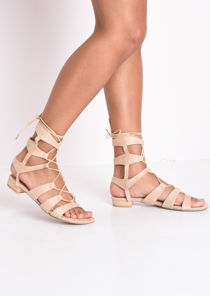 Strappy Gladiator Flat Sandals Apricot Beige