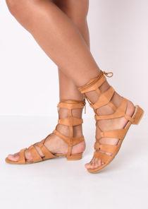 Strappy Gladiator Flat Sandals Camel Brown