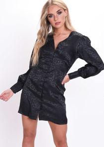 Satin Leopard Print Button Through Mini Dress Black