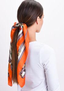 Square Silk Satin Head Scarf Print Orange