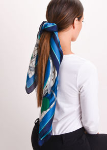 Square Silk Satin Head Scarf Horse Print Teal Blue