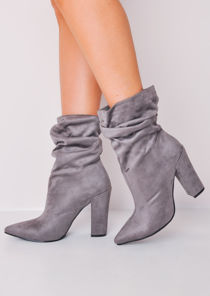 Slouchy Ruched Block Heel Pointed Suede Ankle Boots Grey