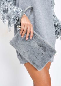 Faux Fur Clutch Bag Grey