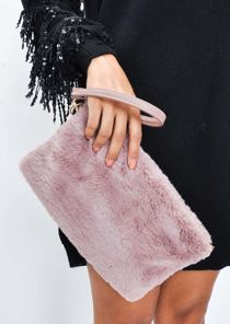 Faux Fur Clutch Bag Mauve Pink