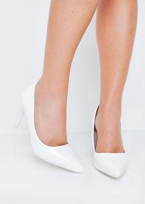 Patent Stiletto Pointed Court Heels White