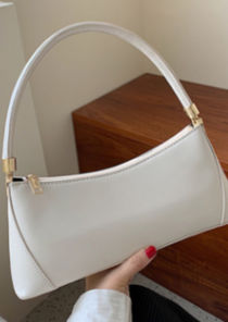 Pu Faux Leather Rectangular Mini Tote Bag White