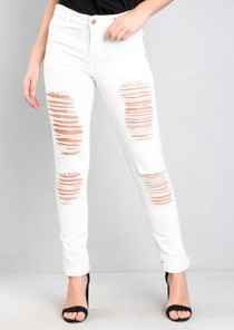 Ripped Boyfriend High Rise Denim Jeans White