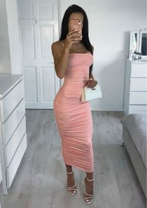 Ruched Slinky Skinny Straps Bodycon Midaxi Dress Pink