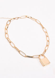 Chunky Linked Chain Padlock Necklace Gold