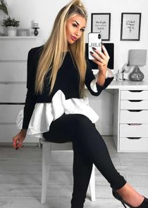 Shirt Hem Frill Cuff Knit Jumper Black
