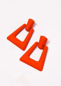 Chunky Square Drop Earrings Matte Neon Orange