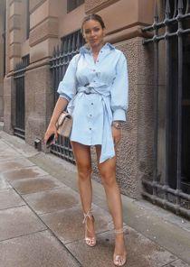 Tie Waist Tortoiseshell Belted Button Through Shirt Dress  Blue