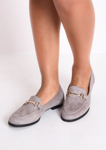 Faux Suede Snaffle Detail Loafer Flat Shoes Grey