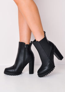 Cleated Sole Chunky Block Heel Leather Chelsea Boots Black