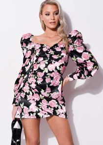 Satin Floral Puff Long Sleeve wrap Front mini dress black