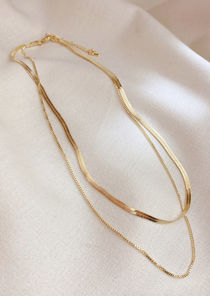 Alloy Cable Chained Necklace Two Piece Set Gold