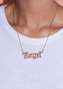 Angel Slogan Necklace Gold