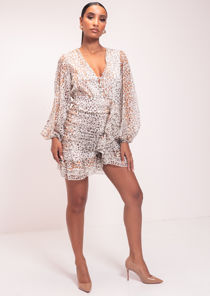 Animal Print Ruffled Long Sleeve Mini Dress White