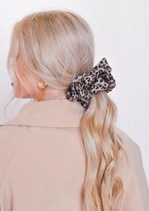 Animal Print Scrunchie Hair Tie Brown