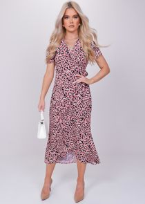 Animal Print Wrap Over Tie Midi Dress Pink