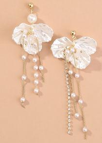 Asymmetrical Flower Petal Shaped Mother Pearl Tasselled Earrings Gold
