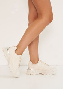 Chunky Lace Up Panelled Cleated Sneaker Trainers Beige