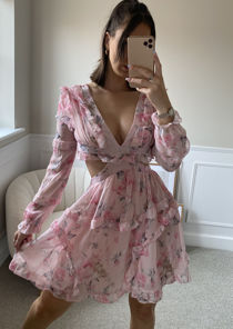 Puff Sleeved Floral Print Side Cut Out Frilled Hem Mini Dress Pink