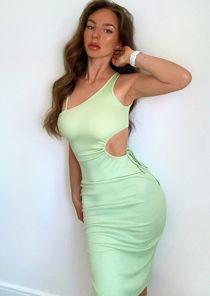 Asymmetrical Ribbed Cut Out Side Split Midi Dress Green