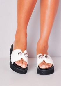 Ball Detail Embellished Flatform Sliders White
