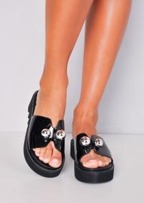 Ball Detail Embellished Flatform Sliders Black