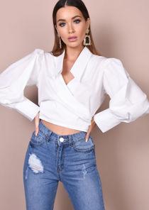Balloon Sleeve Tie Front Crop Shirt Top White
