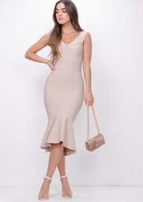 Bandage Frill Hem Midi Dress Nude Beige