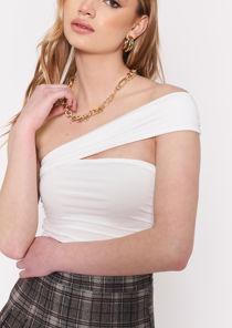 Off Shoulder Bandeau Elasticated Strap Bardot Crop Top White